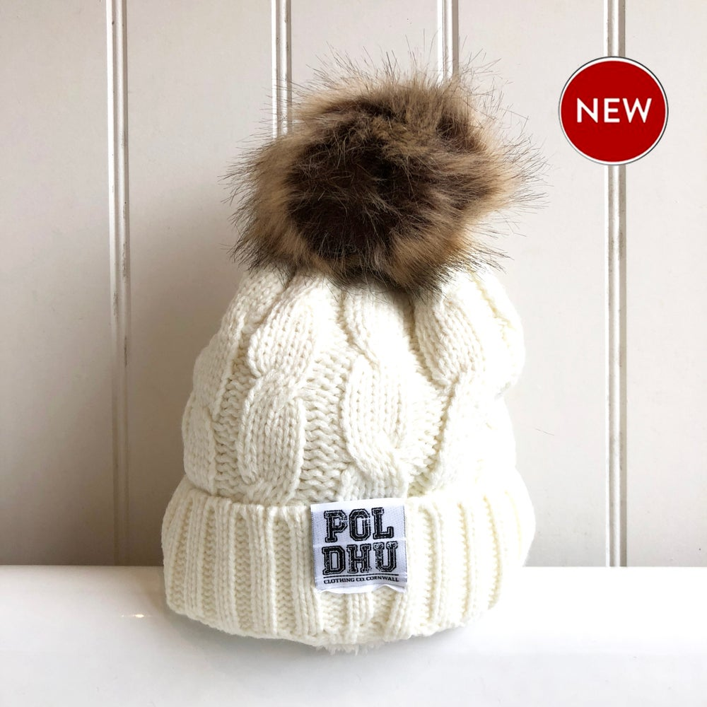 POLDHU FULLY LINED POM POM BOBBLE - CREAM
