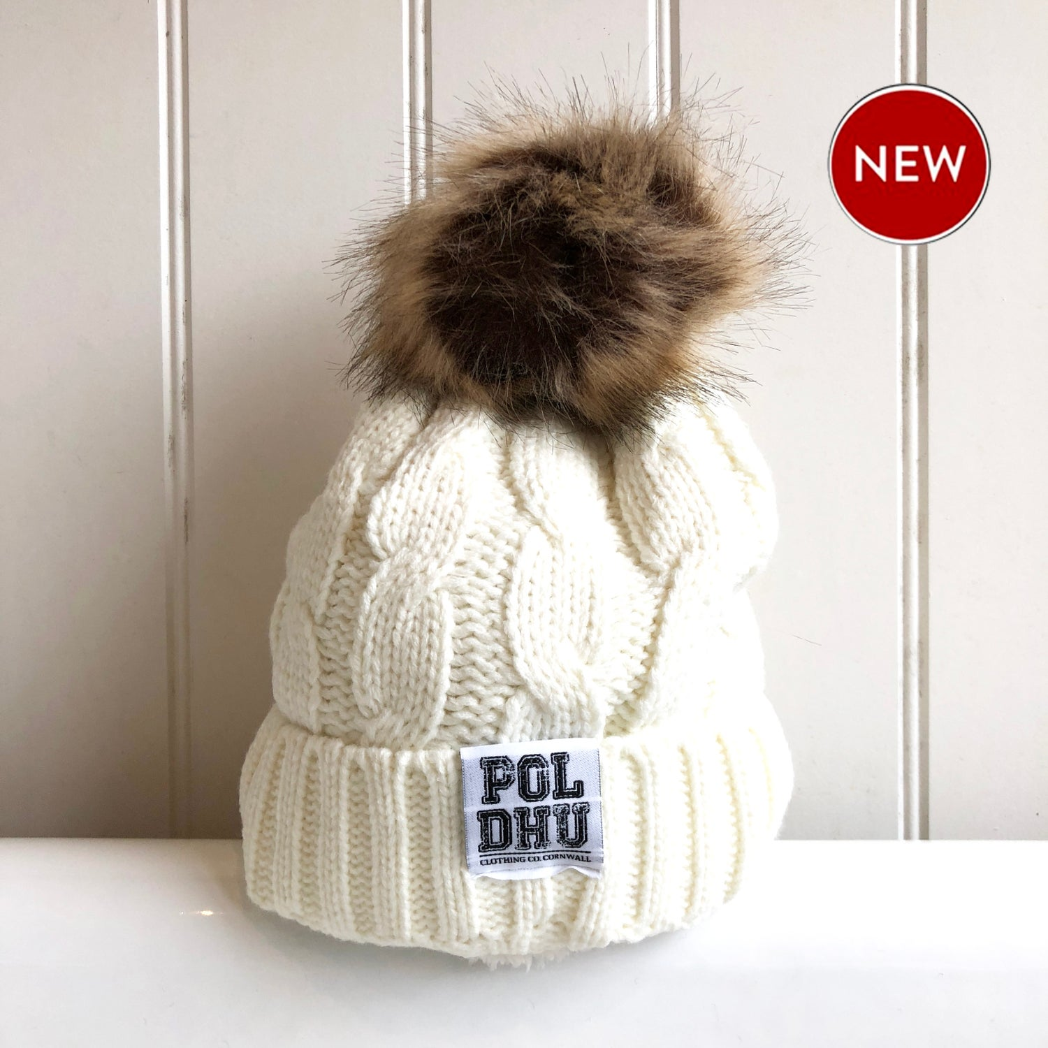 Image of POLDHU FULLY LINED POM POM BOBBLE - CREAM