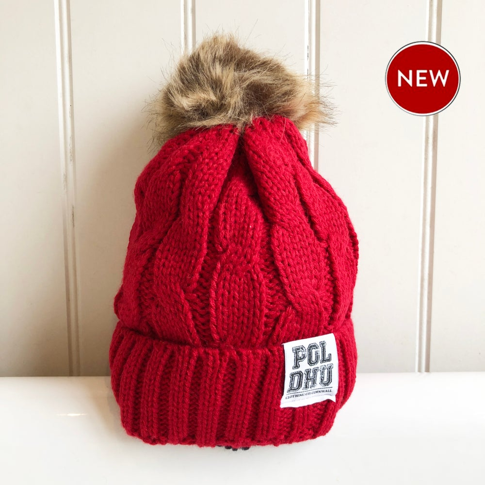 Image of POLDHU FULLY LINED POM POM BOBBLE - RED