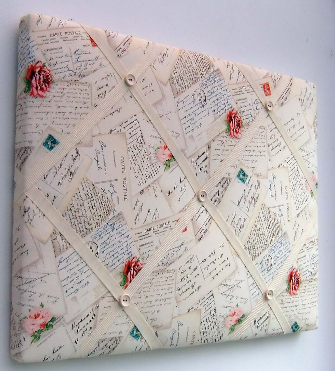 Image of Rare Shabby Chic French Postcard fabric Memo Board