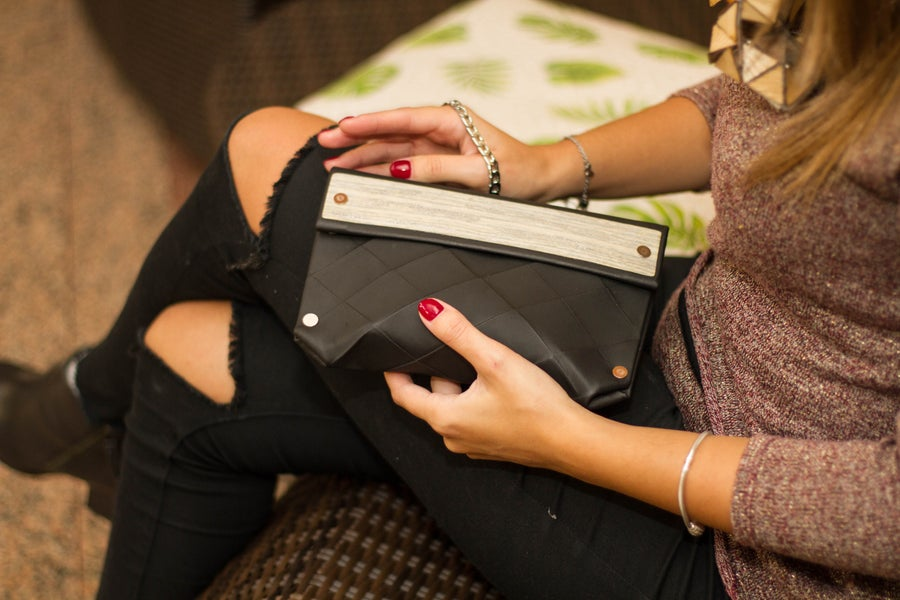 Image of Origami small clutch in eco leather and wood - black