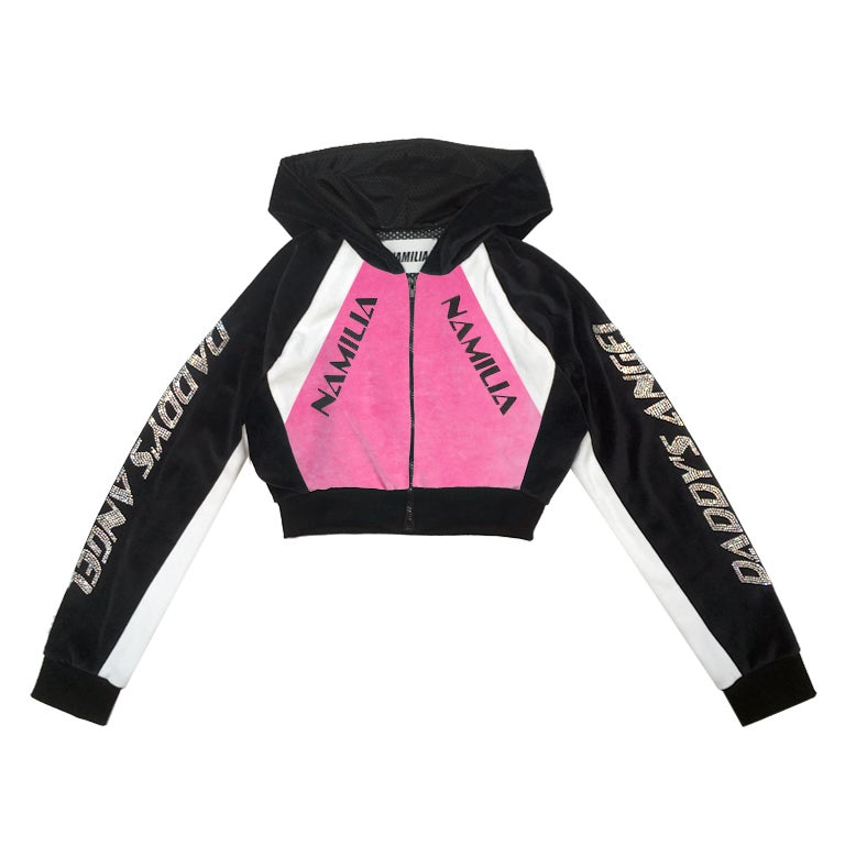 Image of 50% OFF - CRYSTAL MOTOCROSS VELOUR JACKET PINK