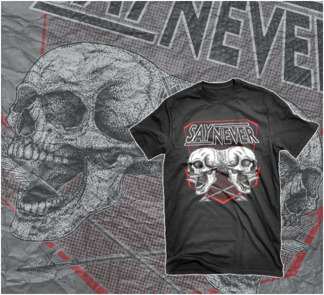 "Image of ADULT SAY NEVER ""DOUBLE SKULL"" T-SHIRT   S,M,L,XL,2XL,3XL"