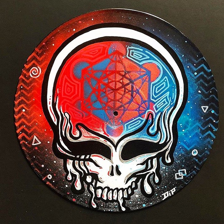Image of Custom Stealie vinyl record painting
