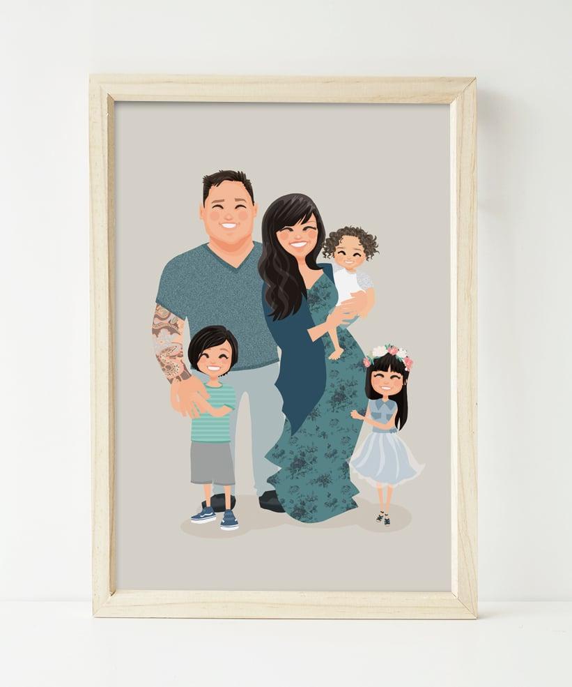 Image of Family of 5 custom portrait