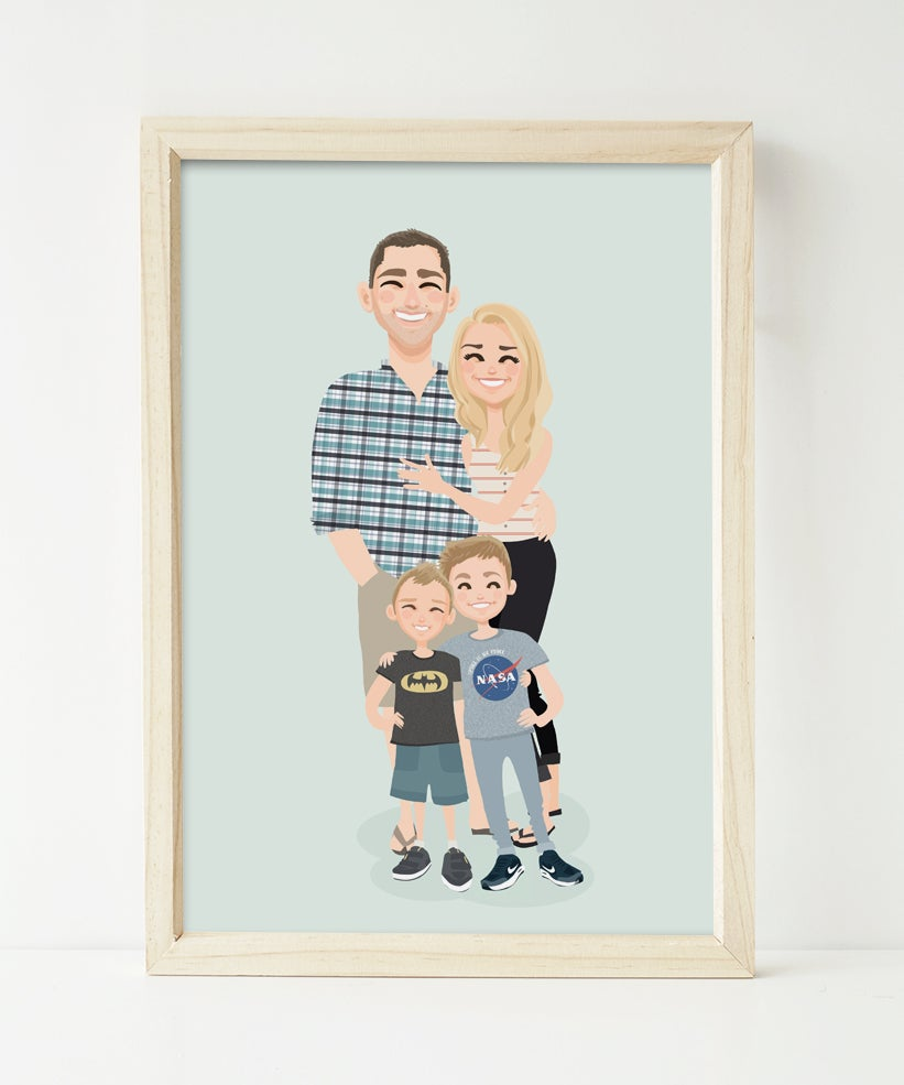 Image of Mum, Dad and two kids custom portrait