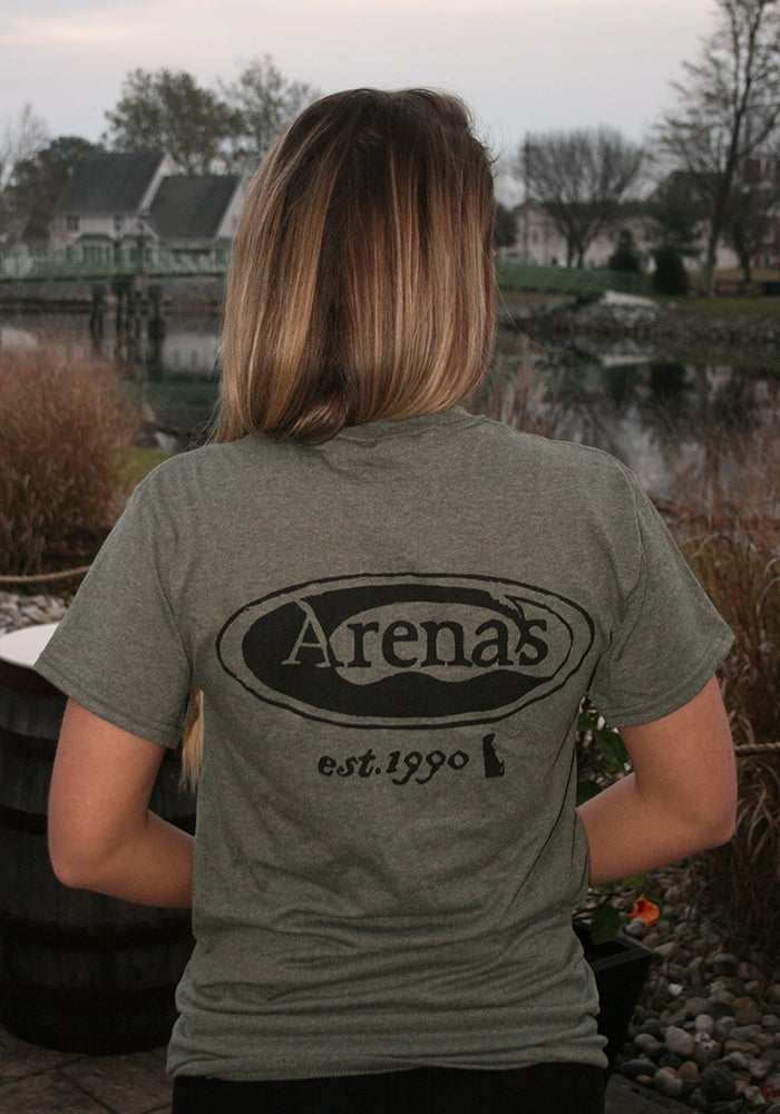 Image of Arena's Stamp Logo T-Shirt in Military Green