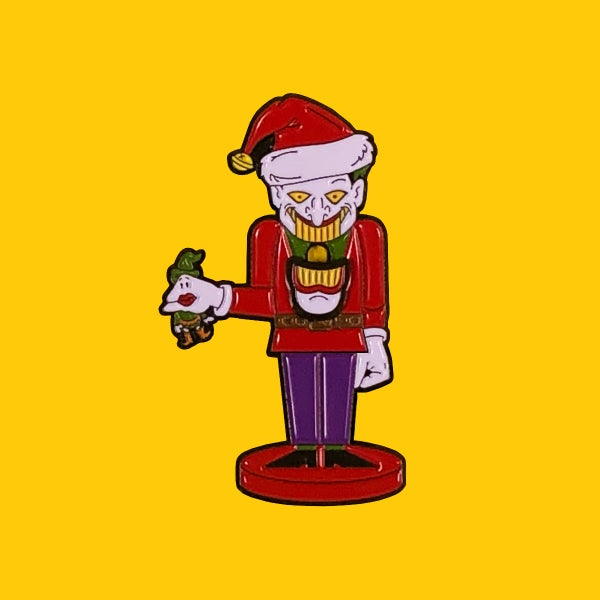"Image of Cracking Jokes- 2"" Enamel Pin with Nutcracker jaw motion"