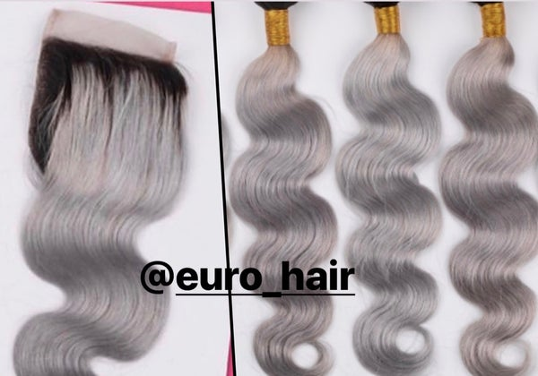 Image of GORGEOUS GREY WITH DARK ROOT PREMIUM EXTENSIONS BODY WAVE TEXTURE