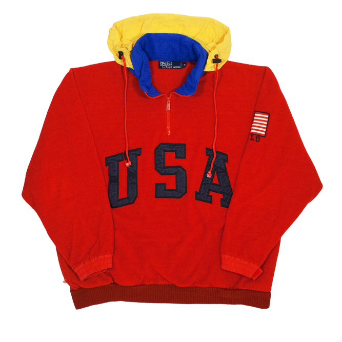 "Image of Polo Ralph Lauren Vinage Fleece ""SuperMan"" Size M"