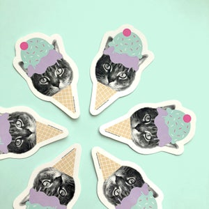 Image of gee whiskers: ice cream cat sticker or magnet - i love ice cream - cat decal