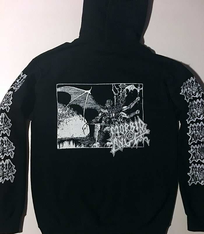 "Image of Morbid Angel "" Abomination ""  Hooded Sweatshirt with Sleeve Prints"