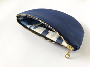 Image of Paula Half Moon Pouch In Blue Cork