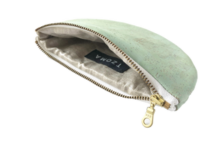 Image of Paula Half Moon Pouch In Mint Green Cork