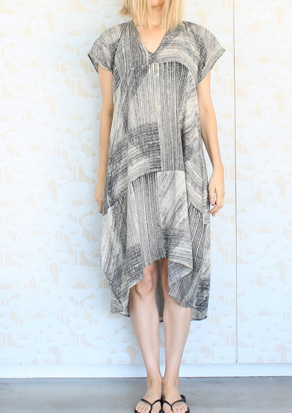 Image of Lines Print Day Dress