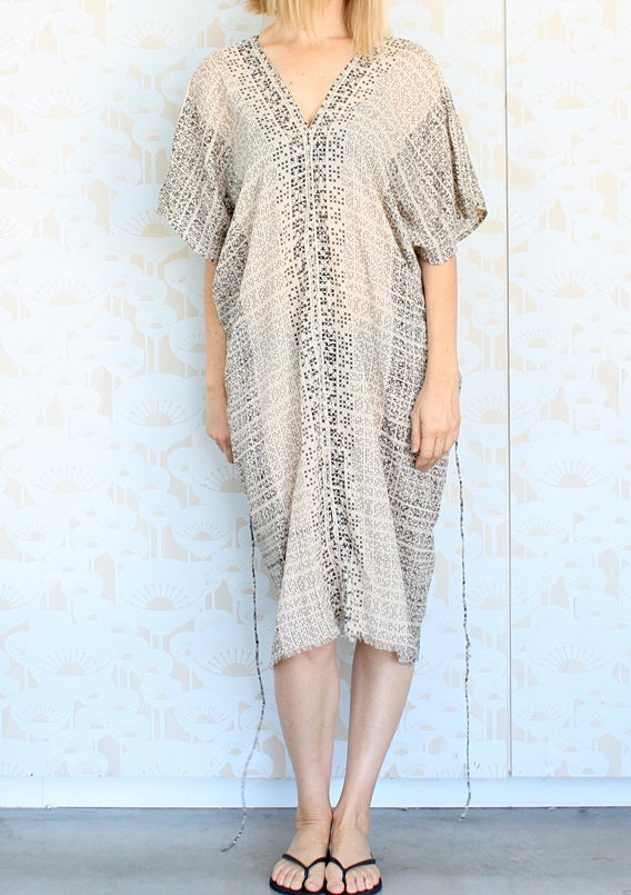 Image of Crosshatch print v neck dress