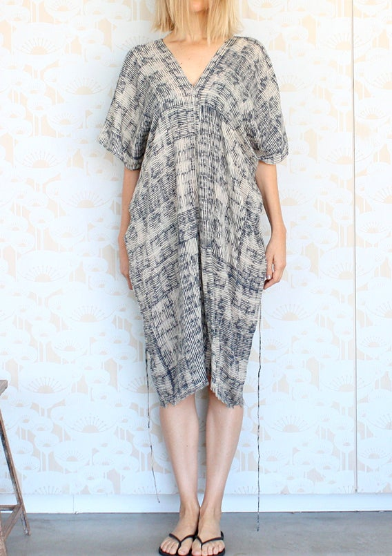Image of Row Print V Neck Dress
