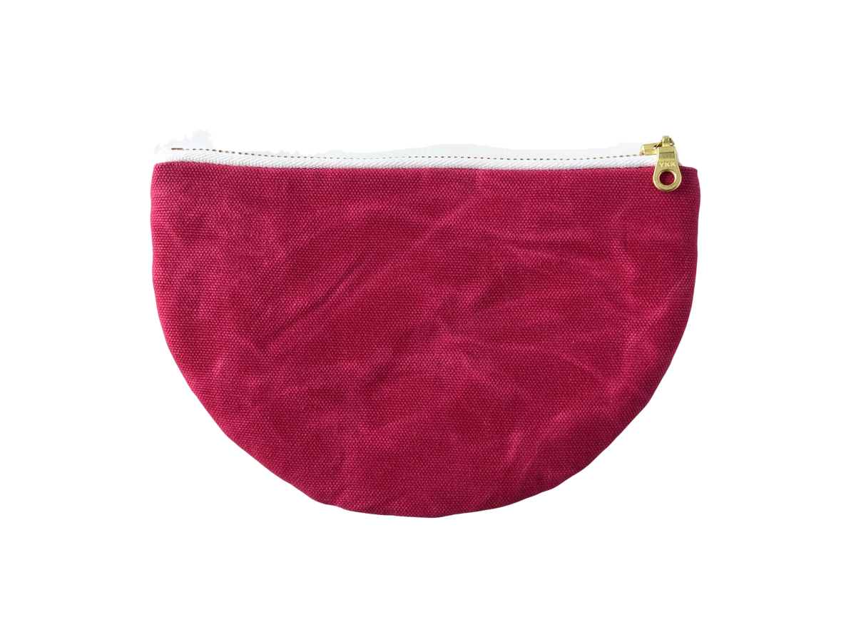Image of Paula Half Moon Pouch In Hot Pink Waxed Canvas