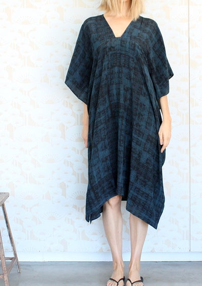 Image of Row Print Gap Neck Dress