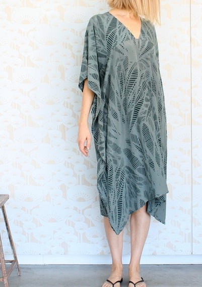 Image of Feather Print Gap Neck Dress