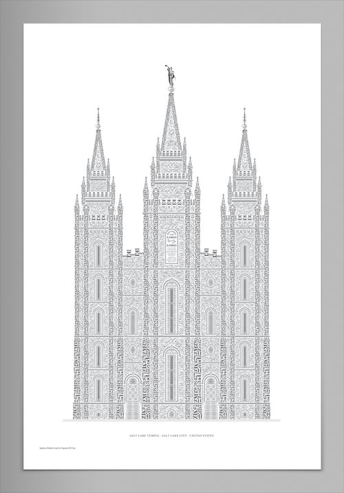 Image of Salt Lake Temple Reimagined in Type