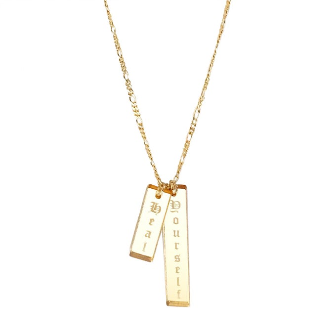 Image of Custom DOUBLE VERTICAL GOLD BAR Necklace
