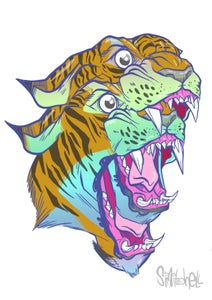 Image of tiger glitch strictly ltd edition print a3