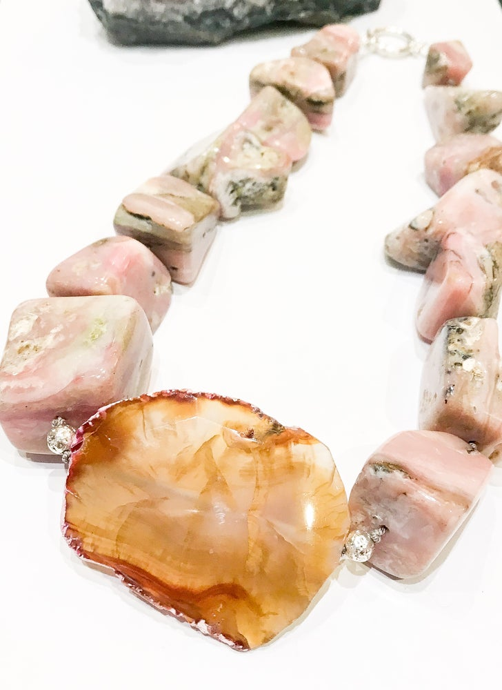 Image of Chunky Cherry Opal and Agate Necklace