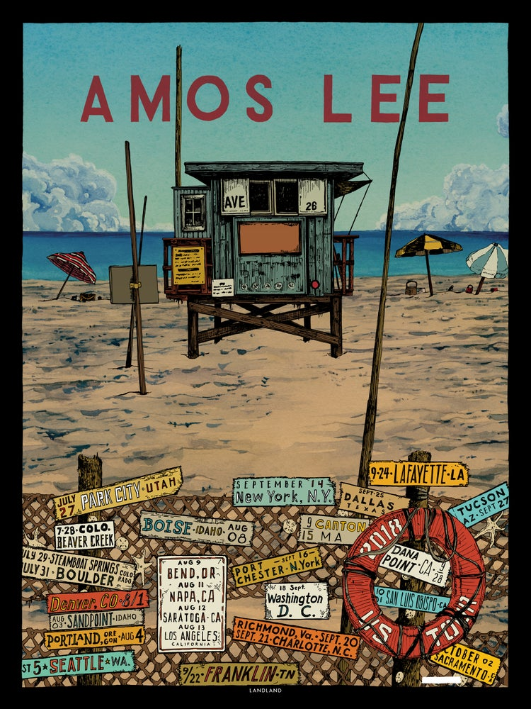 "Image of Amos Lee (2018 U.S. Tour) • L.E. Official Poster (18"" x 24"")"