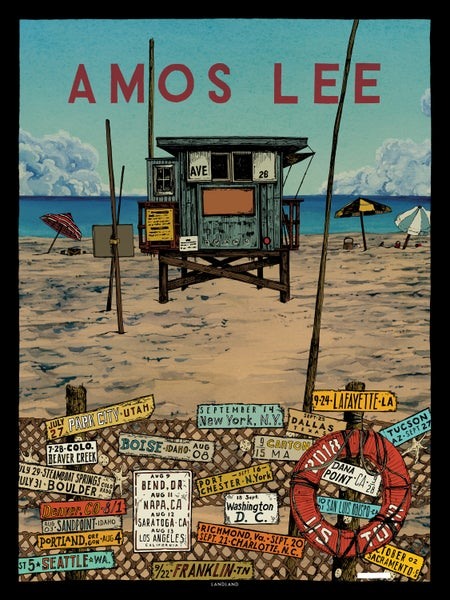 "Image of NEW! Amos Lee (2018 U.S. Tour) • L.E. Official Poster (18"" x 24"")"