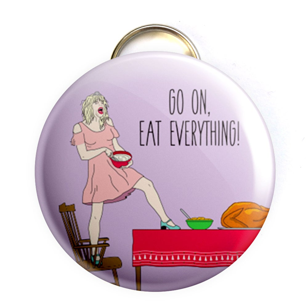 Image of Courtney Love Holiday Bottle Opener/ Button/ Magnet