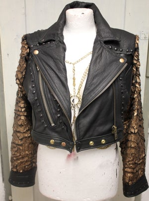 Image of GOLDEN RISING PHOENIX LEATHER JACKET