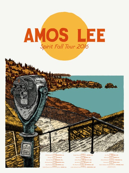"Image of Amos Lee (Oct–Nov 2016) • Limited Edition Official Poster (18"" x 24"")"