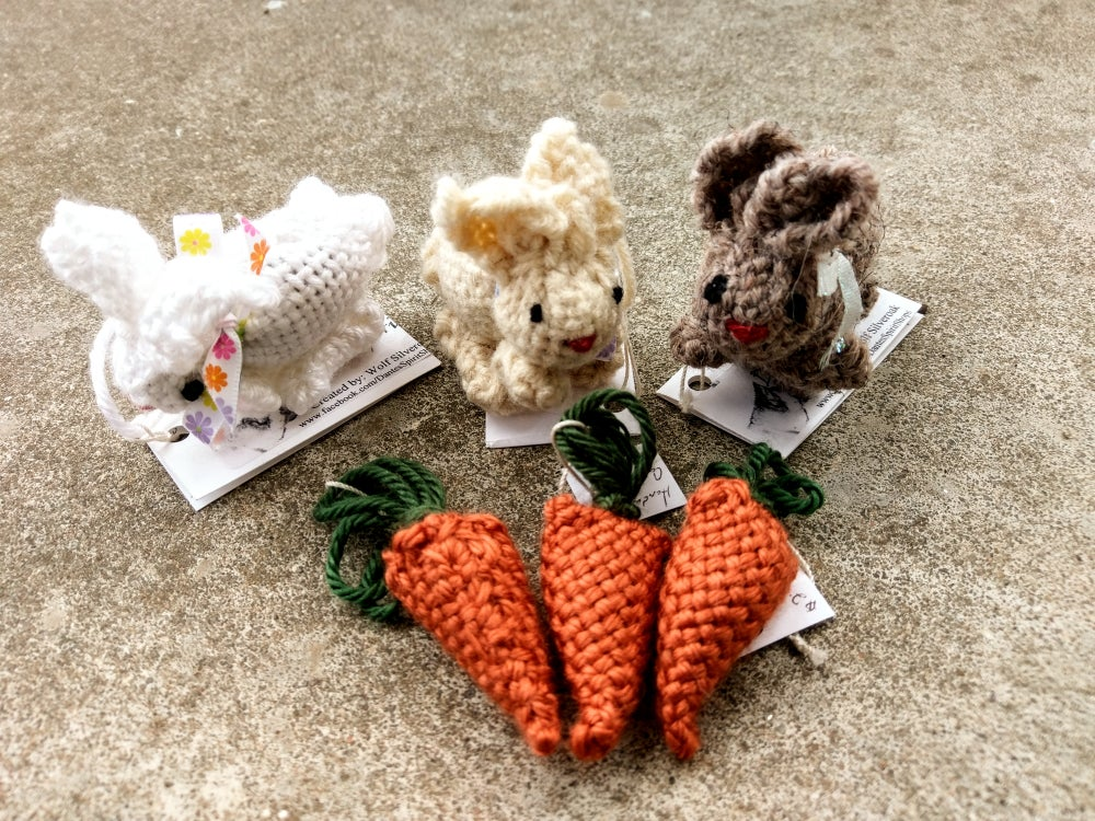 Image of Bunny and carrot ornaments, handmade, handwoven
