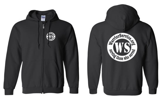 Image of OFFICIAL - WARRIOR SERVICE - BLACK ZIP HOODIE