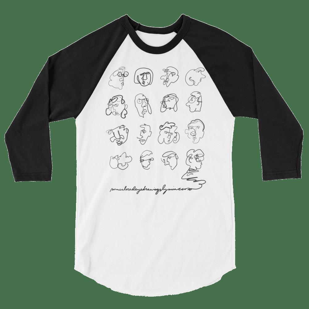 Image of Unisex 3/4 Sleeve 'Closed Eye Drawing' T-Shirt
