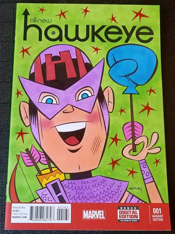 Image of HAWKEYE ORIGINAL ART SKETCH COVER! MARVEL COMICS AVENGERS!