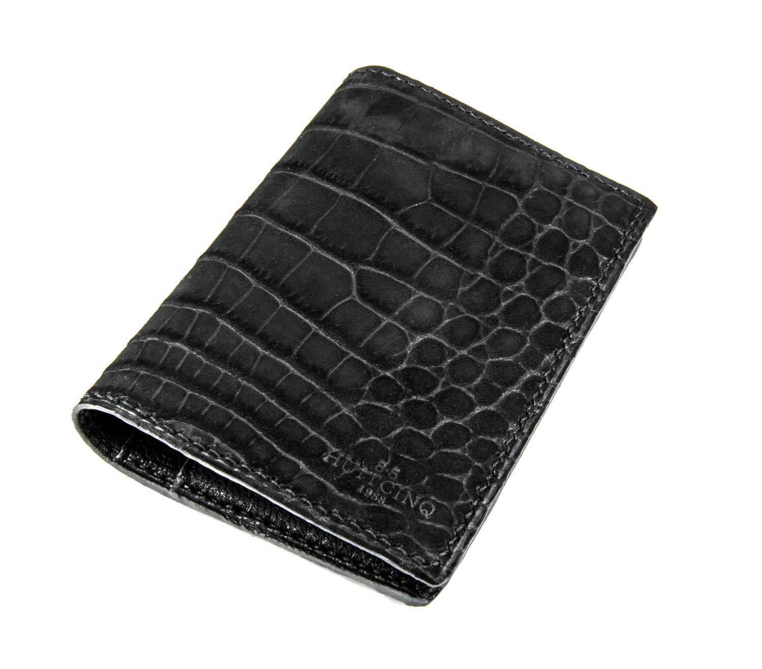 Image of Bifold n°4 - Black nubuck alligator