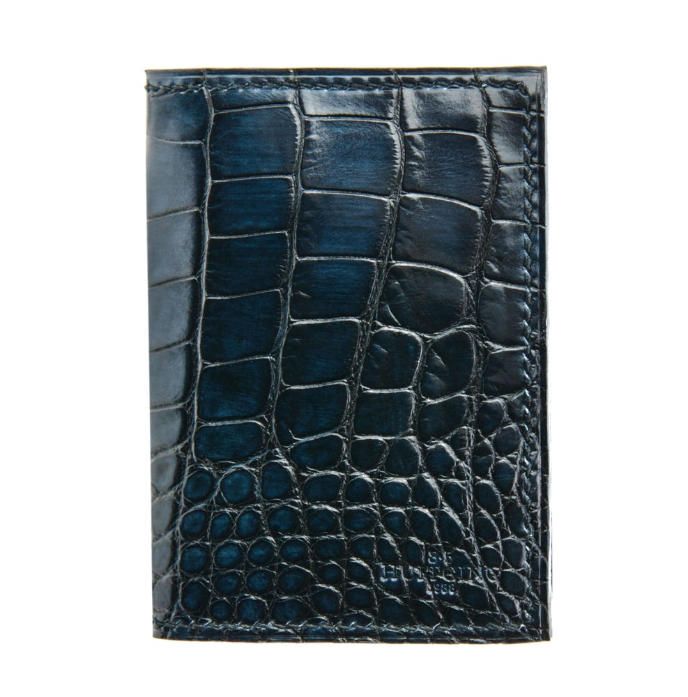 Image of Bifold N°4 - Blue hand-painted Alligator