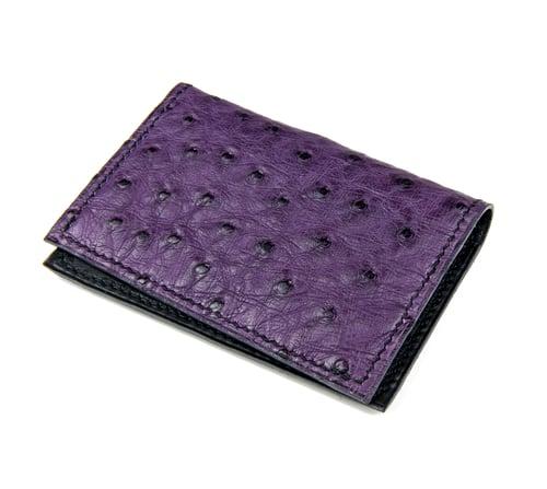 Image of Bifold n°4 - Dark purple Ostrich card-holder