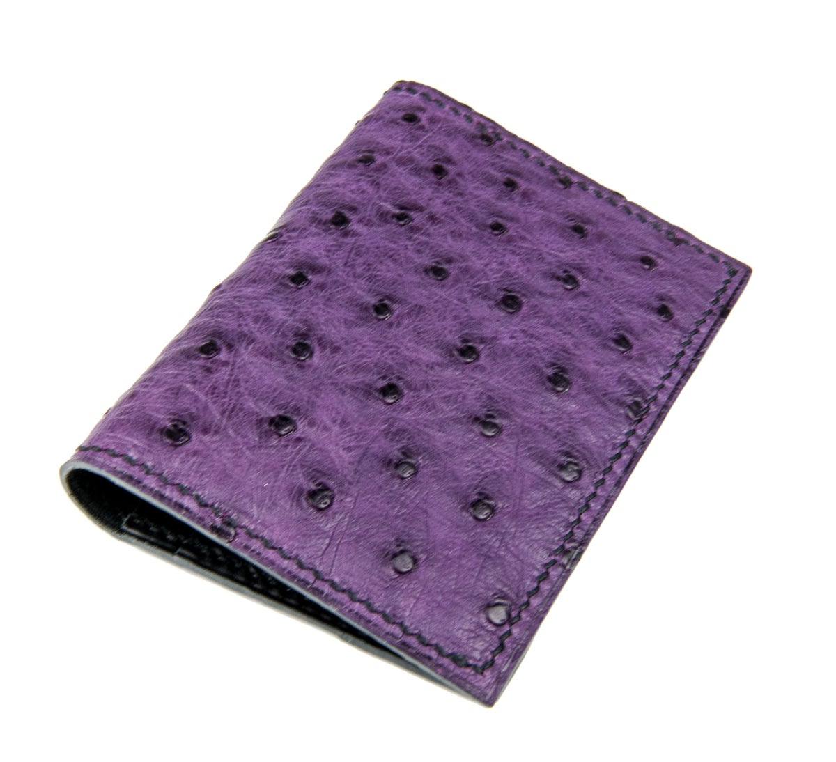 Image of Bifold n°4 - Dark purple Ostrich card-holder