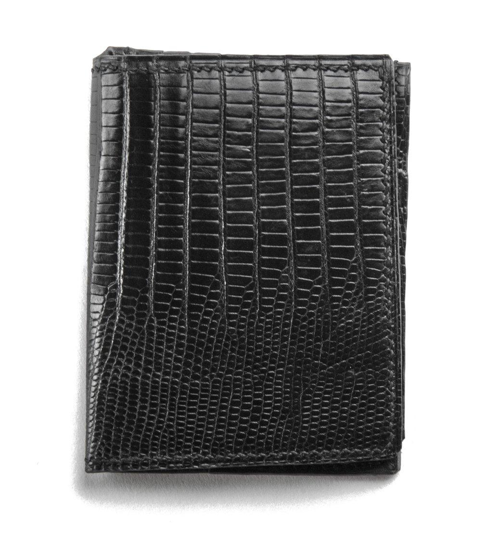 "Image of ""L'hommage"" 3 slots card-holder - Black Genuine Tegu Lizard"