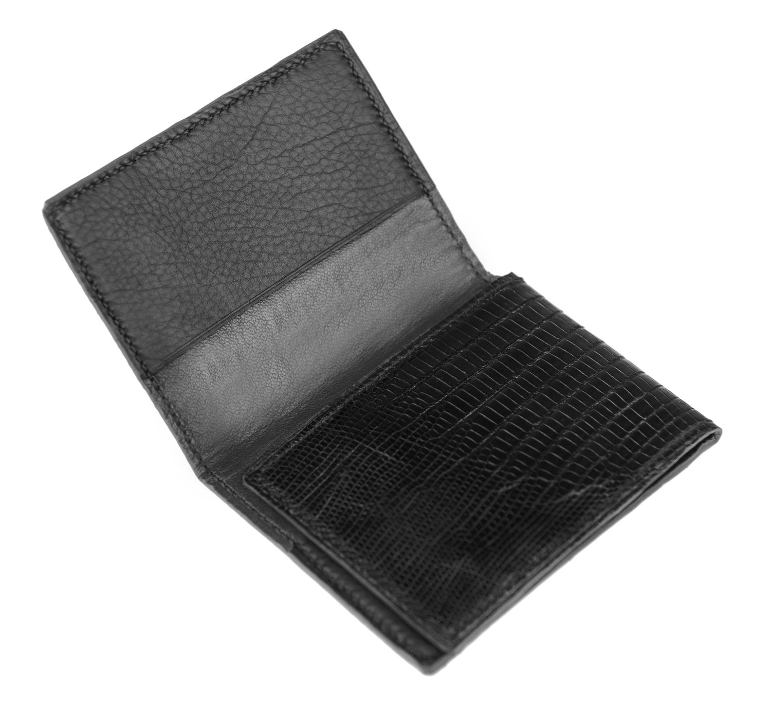 "Image of ""L'hommage"" 3 slots card-holder - Black Genuine Tegu Lizard"