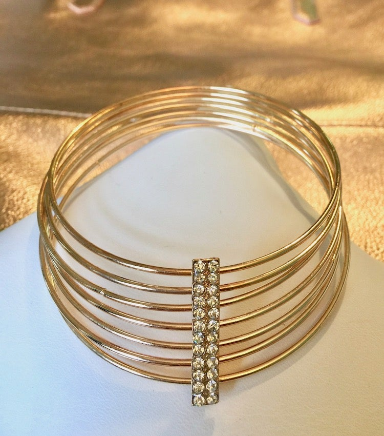Image of Rhinestone Bar Bangle Set