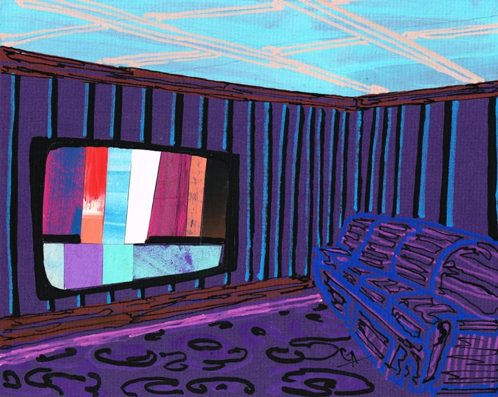 Image of Watching TV In A Purple Room