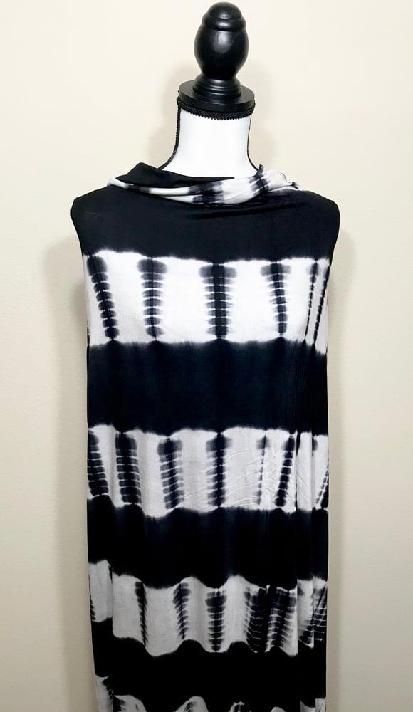 Image of Rayon B/W Tie Dye Stripes