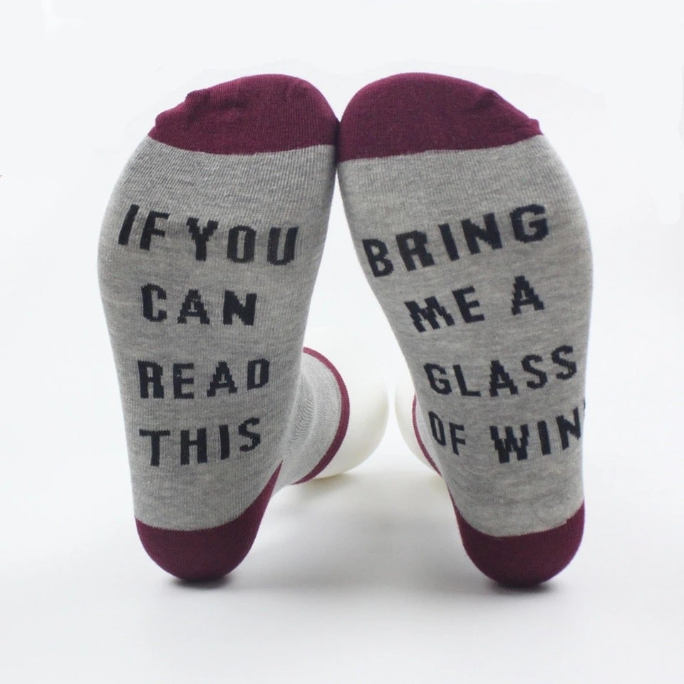 "Image of ""Bring me coffee/wine"" socks"