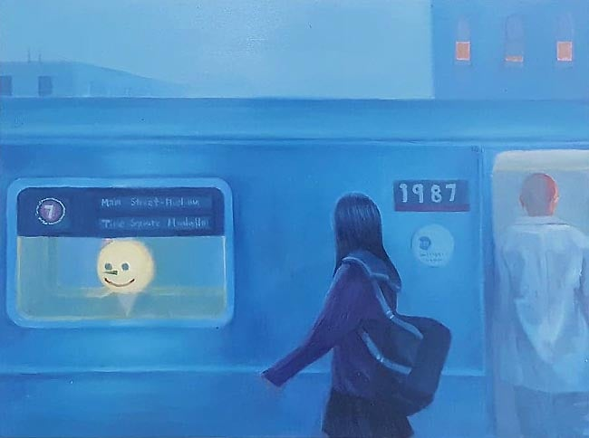 Image of Leegan Koo 'Take the 7 Train' original art