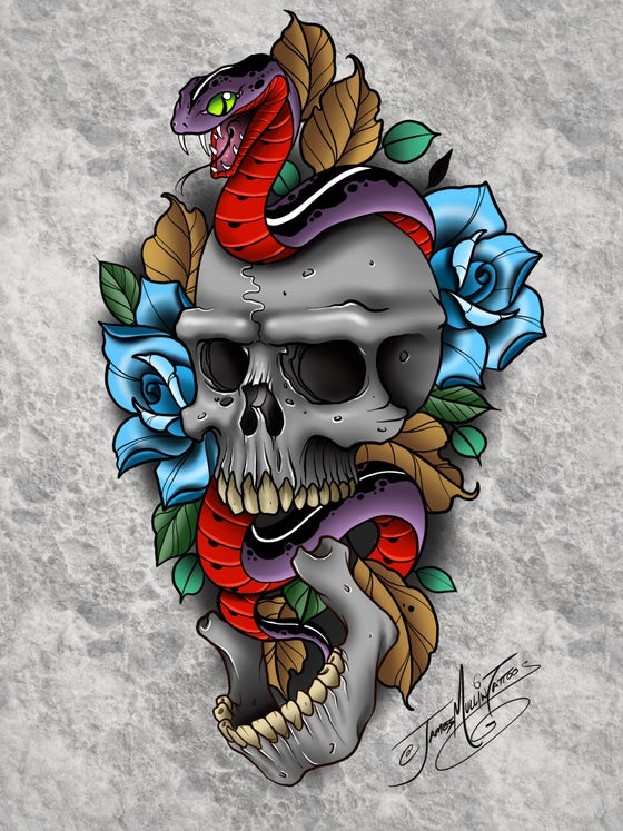 Image of Skull and snake