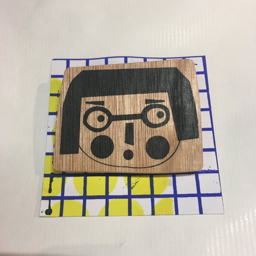 Image of Bob Girl Badge - Hand screen printed on Wood